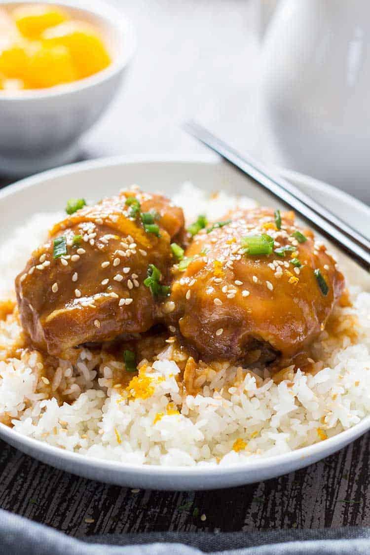 Sesame Orange Chicken Plated