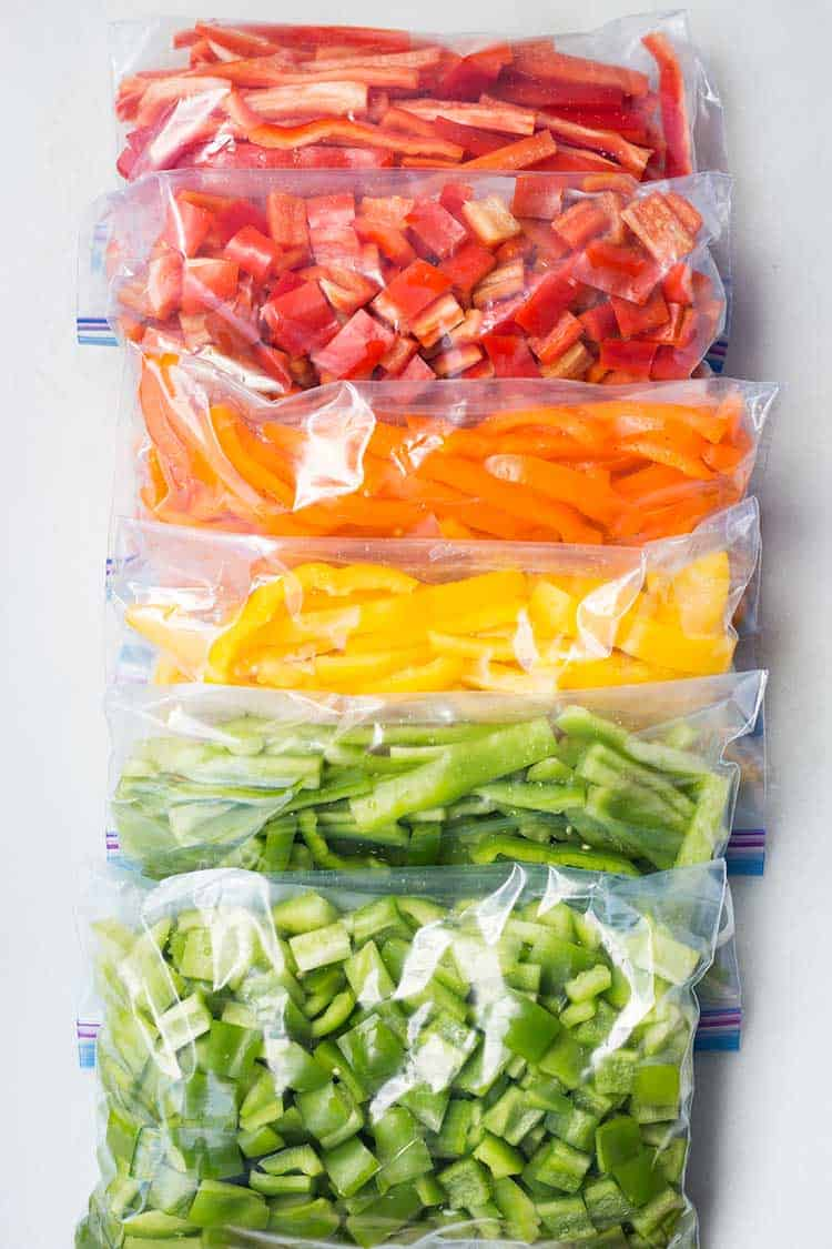 Freezing Bell Peppers in Freezer Bags